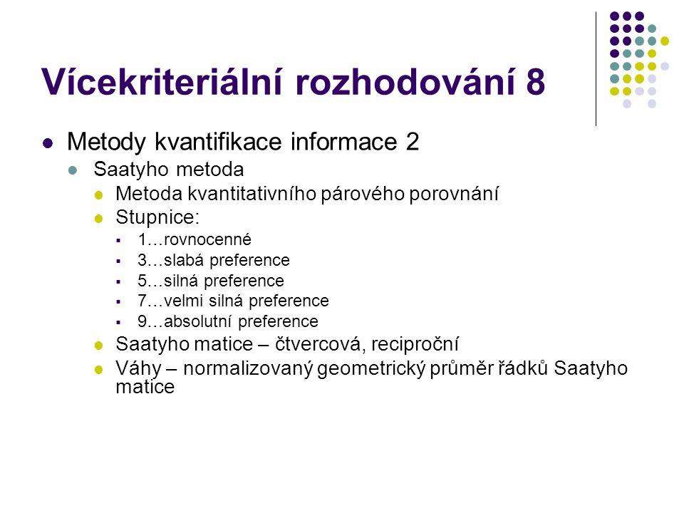 Vícekriteriální rozhodování 8 Metody kvantifikace informace 2 Saatyho metoda Metoda kvantitativního párového porovnání Stupnice:  1…rovnocenné  3…sl