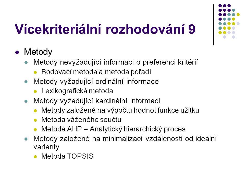 Vícekriteriální rozhodování 9 Metody Metody nevyžadující informaci o preferenci kritérií Bodovací metoda a metoda pořadí Metody vyžadující ordinální i