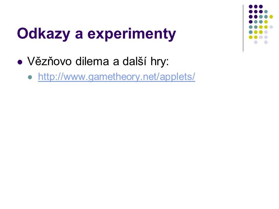 Odkazy a experimenty Vězňovo dilema a další hry: http://www.gametheory.net/applets/