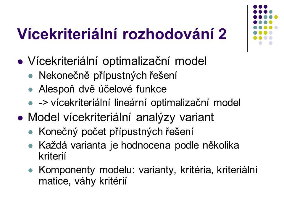 Vícekriteriální rozhodování 2 Vícekriteriální optimalizační model Nekonečně přípustných řešení Alespoň dvě účelové funkce -> vícekriteriální lineární