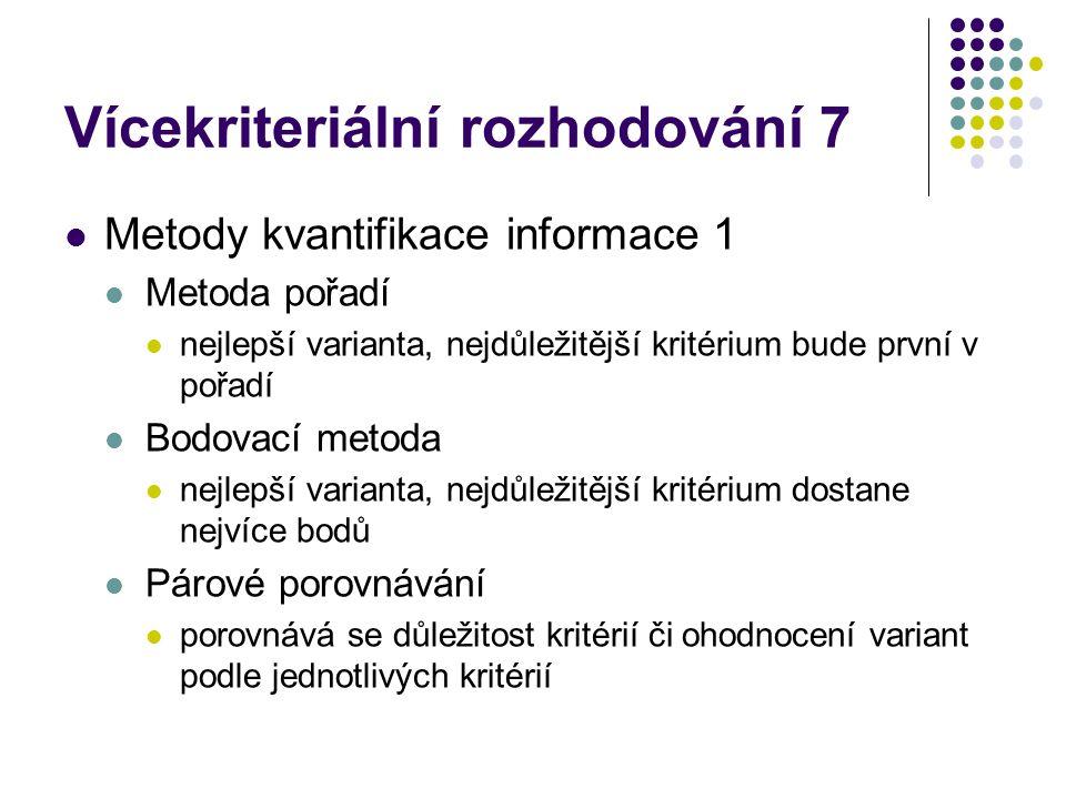 Vícekriteriální rozhodování 7 Metody kvantifikace informace 1 Metoda pořadí nejlepší varianta, nejdůležitější kritérium bude první v pořadí Bodovací m