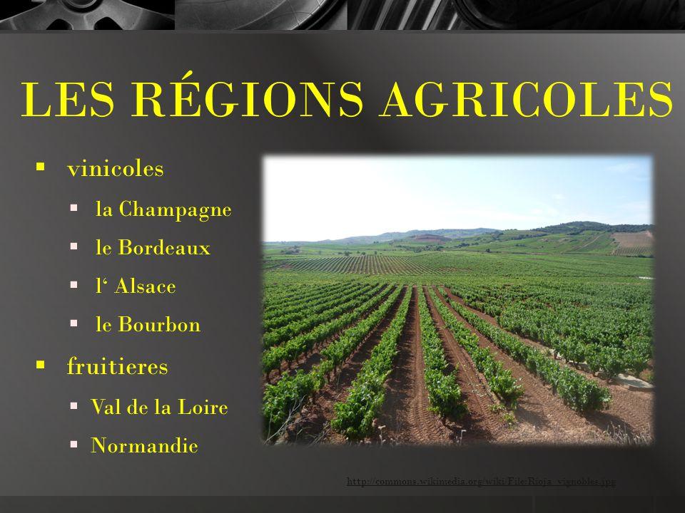 LES RÉGIONS AGRICOLES  vinicoles  la Champagne  le Bordeaux  l' Alsace  le Bourbon  fruitieres  Val de la Loire  Normandie http://commons.wikimedia.org/wiki/File:Rioja_vignobles.jpg