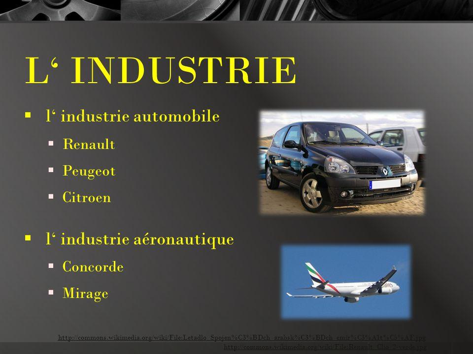 L' INDUSTRIE  l' industrie automobile  Renault  Peugeot  Citroen  l' industrie aéronautique  Concorde  Mirage http://commons.wikimedia.org/wiki/File:Renault_Clio_2-verde.jpg http://commons.wikimedia.org/wiki/File:Letadlo_Spojen%C3%BDch_arabsk%C3%BDch_emir%C3%A1t%C5%AF.jpg