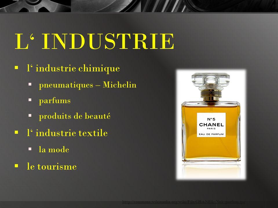 L' INDUSTRIE  l' industrie chimique  pneumatiques – Michelin  parfums  produits de beauté  l' industrie textile  la mode  le tourisme http://commons.wikimedia.org/wiki/File:CHANEL_No5_parfum.jpg