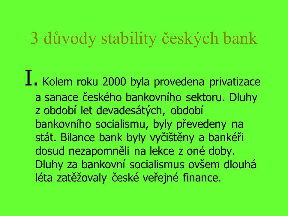 3 důvody stability českých bank I. Kolem roku 2000 byla provedena privatizace a sanace českého bankovního sektoru. Dluhy z období let devadesátých, ob