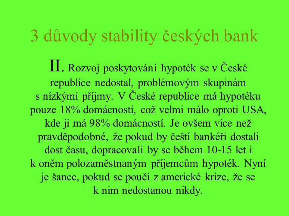 3 důvody stability českých bank II. Rozvoj poskytování hypoték se v České republice nedostal, problémovým skupinám s nízkými příjmy. V České republice