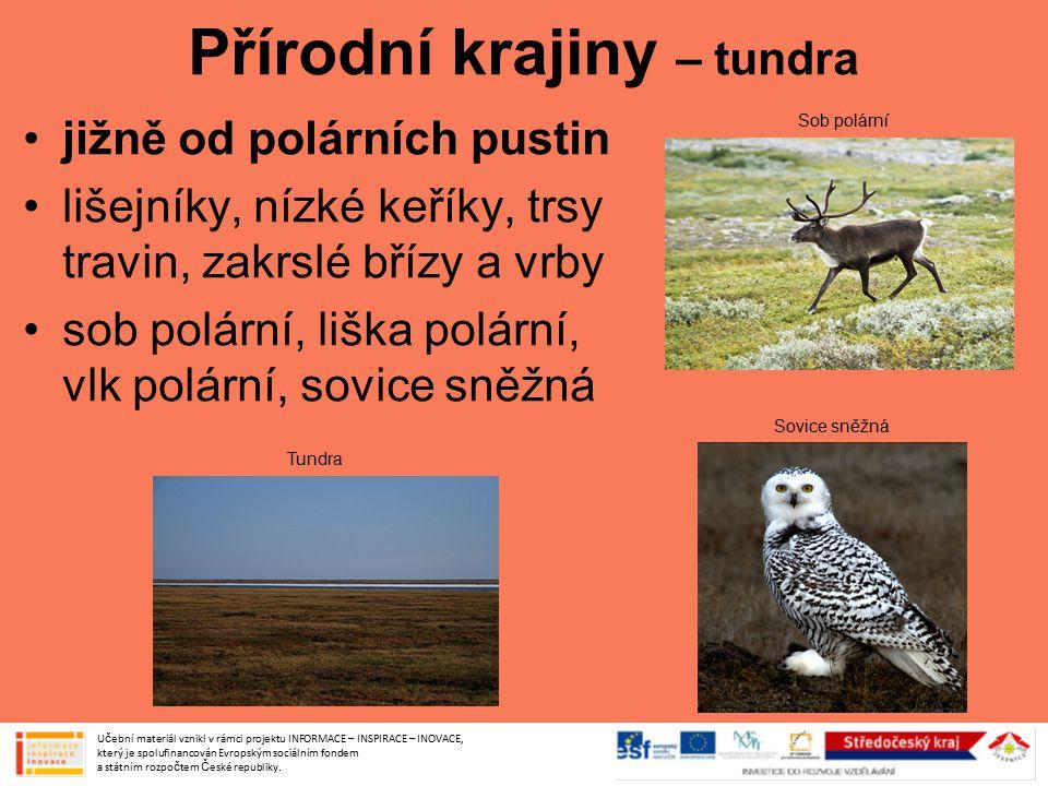 Přírodní krajiny – tundra jižně od polárních pustin lišejníky, nízké keříky, trsy travin, zakrslé břízy a vrby sob polární, liška polární, vlk polární