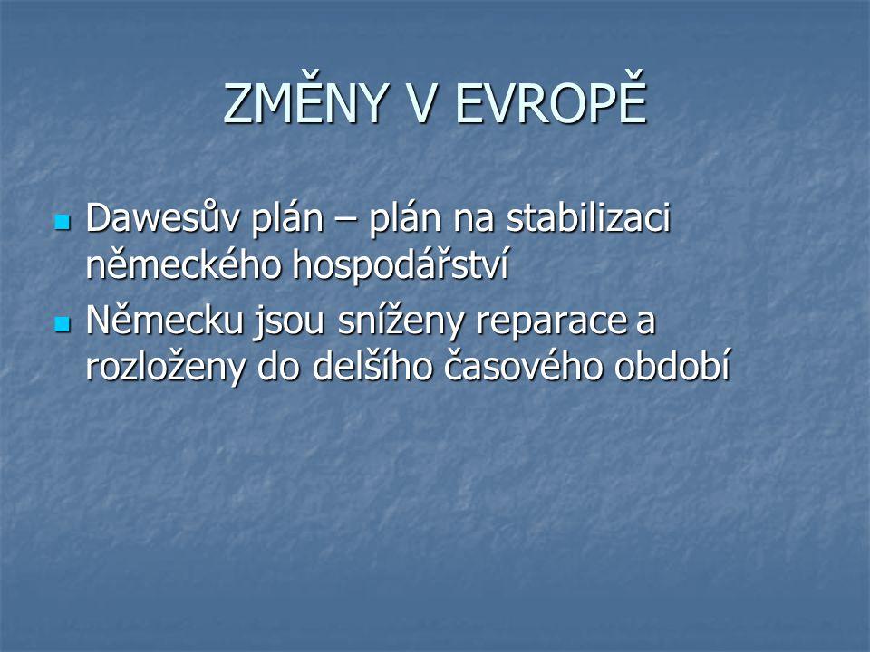 ZMĚNY V EVROPĚ Dawesův plán – plán na stabilizaci německého hospodářství Dawesův plán – plán na stabilizaci německého hospodářství Německu jsou sníženy reparace a rozloženy do delšího časového období Německu jsou sníženy reparace a rozloženy do delšího časového období