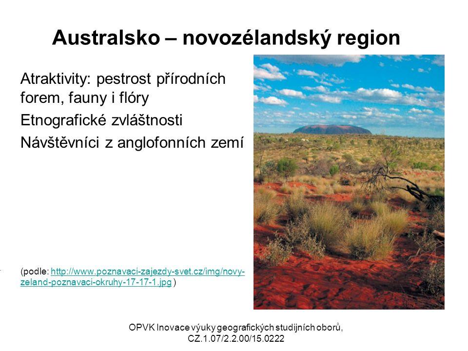 Australsko – novozélandský region Atraktivity: pestrost přírodních forem, fauny i flóry Etnografické zvláštnosti Návštěvníci z anglofonních zemí (podl