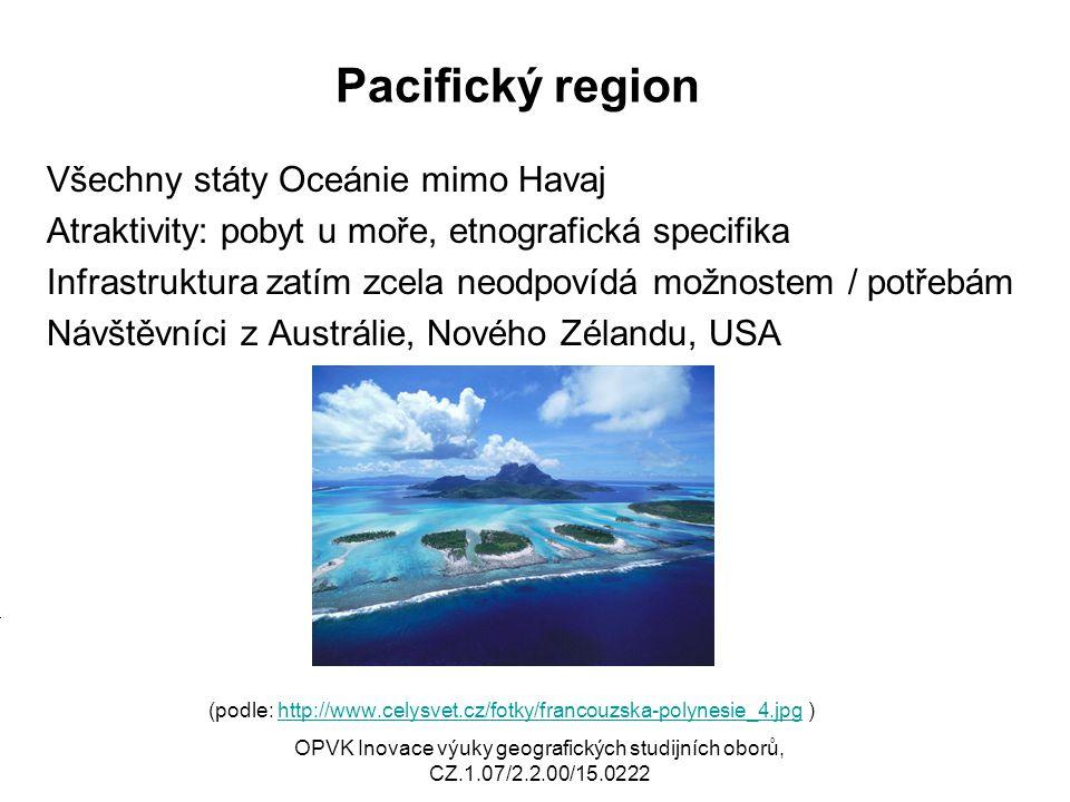 Pacifický region Všechny státy Oceánie mimo Havaj Atraktivity: pobyt u moře, etnografická specifika Infrastruktura zatím zcela neodpovídá možnostem /