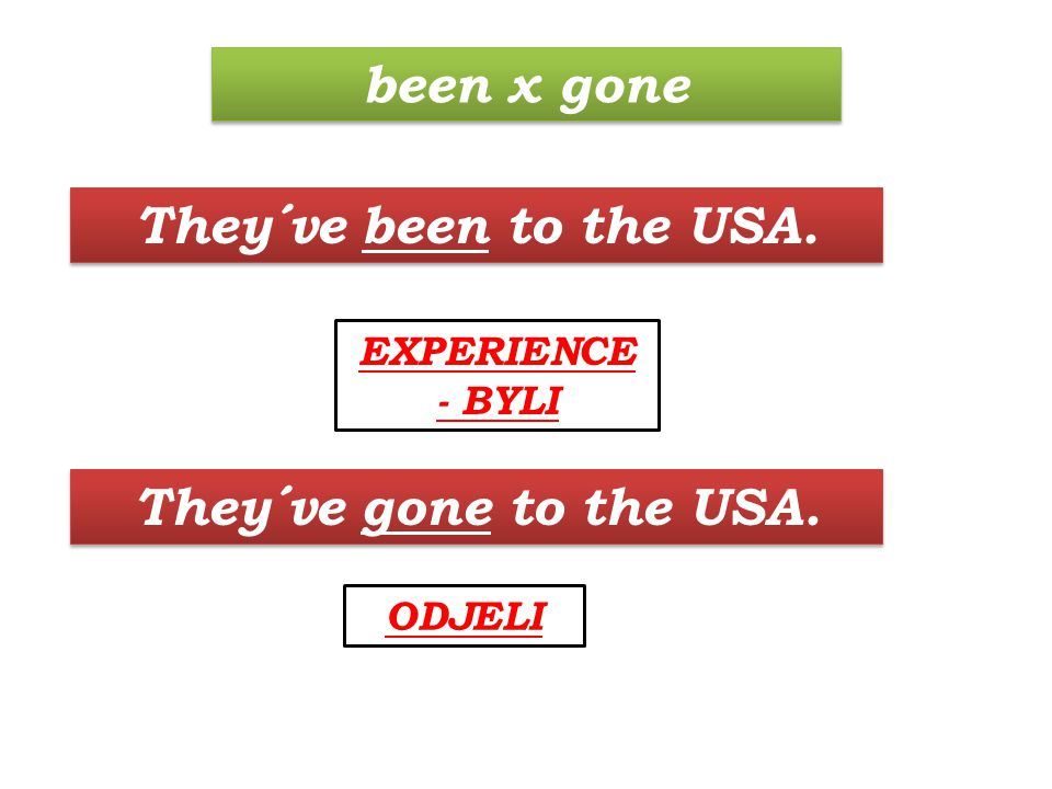 They´ve gone to the USA. ODJELI They´ve been to the USA. EXPERIENCE - BYLI been x gone