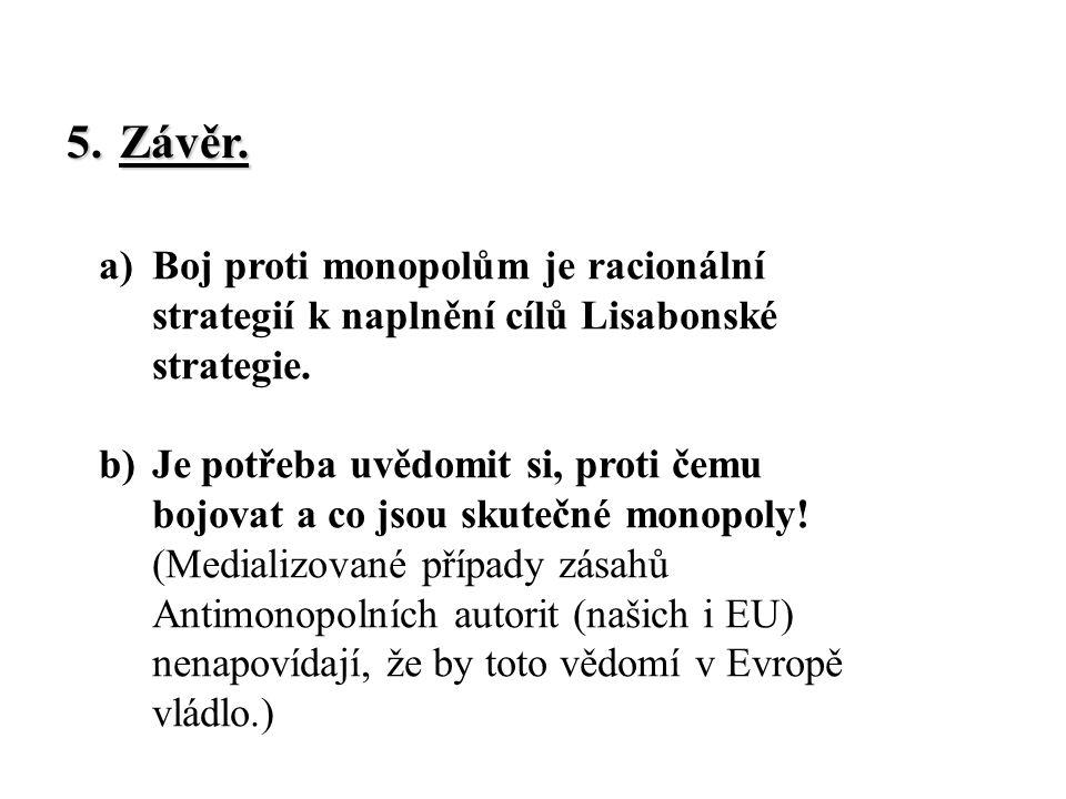 a)Boj proti monopolům je racionální strategií k naplnění cílů Lisabonské strategie.