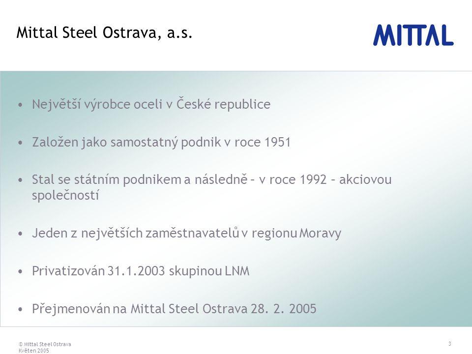 © Mittal Steel Ostrava Květen 2005 3 Největší výrobce oceli v České republice Založen jako samostatný podnik v roce 1951 Stal se státním podnikem a ná
