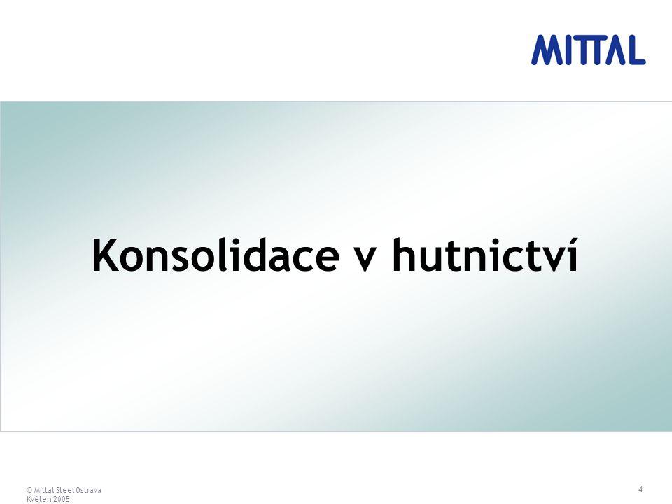 © Mittal Steel Ostrava Květen 2005 4 Konsolidace v hutnictví