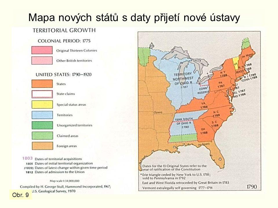 Mapa nových států s daty přijetí nové ústavy Obr. 9