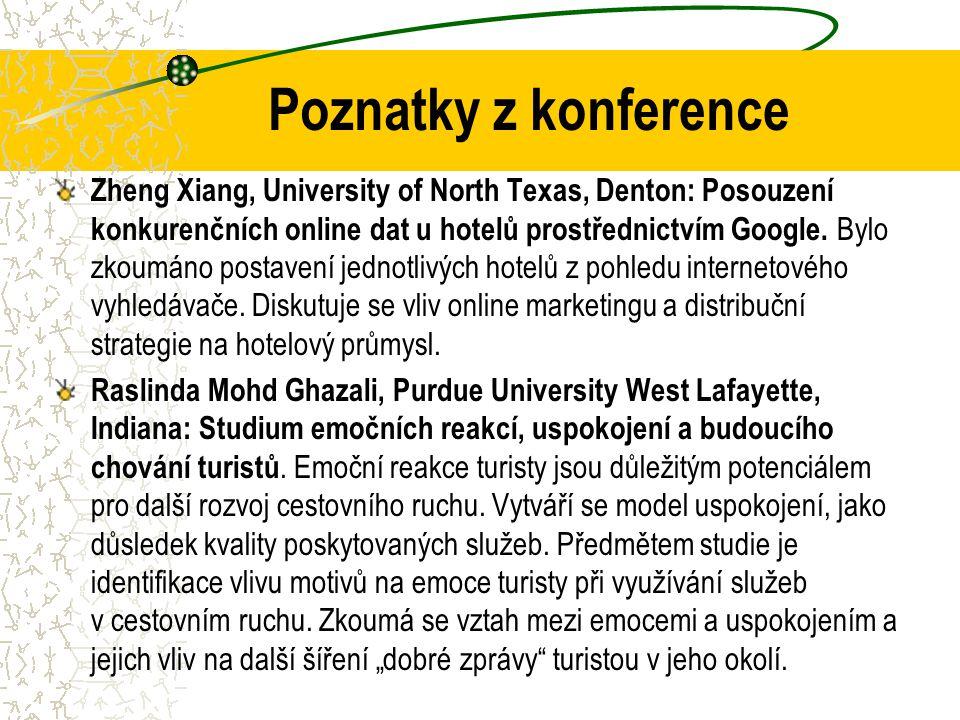 Poznatky z konference Zheng Xiang, University of North Texas, Denton: Posouzení konkurenčních online dat u hotelů prostřednictvím Google.
