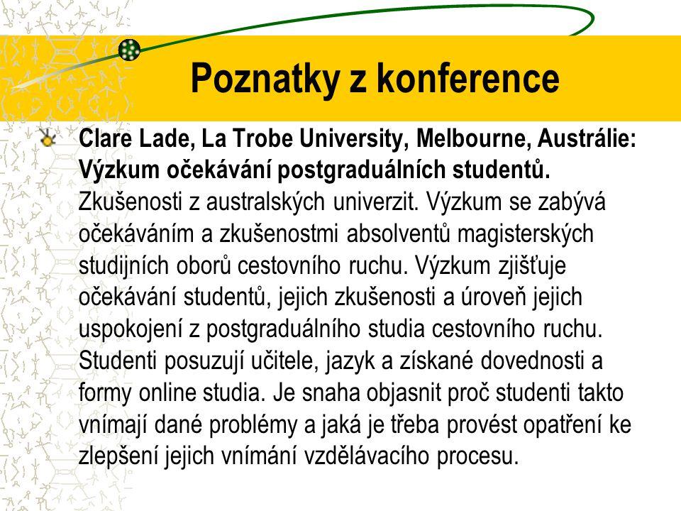 Poznatky z konference Clare Lade, La Trobe University, Melbourne, Austrálie: Výzkum očekávání postgraduálních studentů.