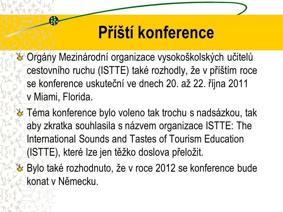 Příští konference Orgány Mezinárodní organizace vysokoškolských učitelů cestovního ruchu (ISTTE) také rozhodly, že v příštím roce se konference uskuteční ve dnech 20.