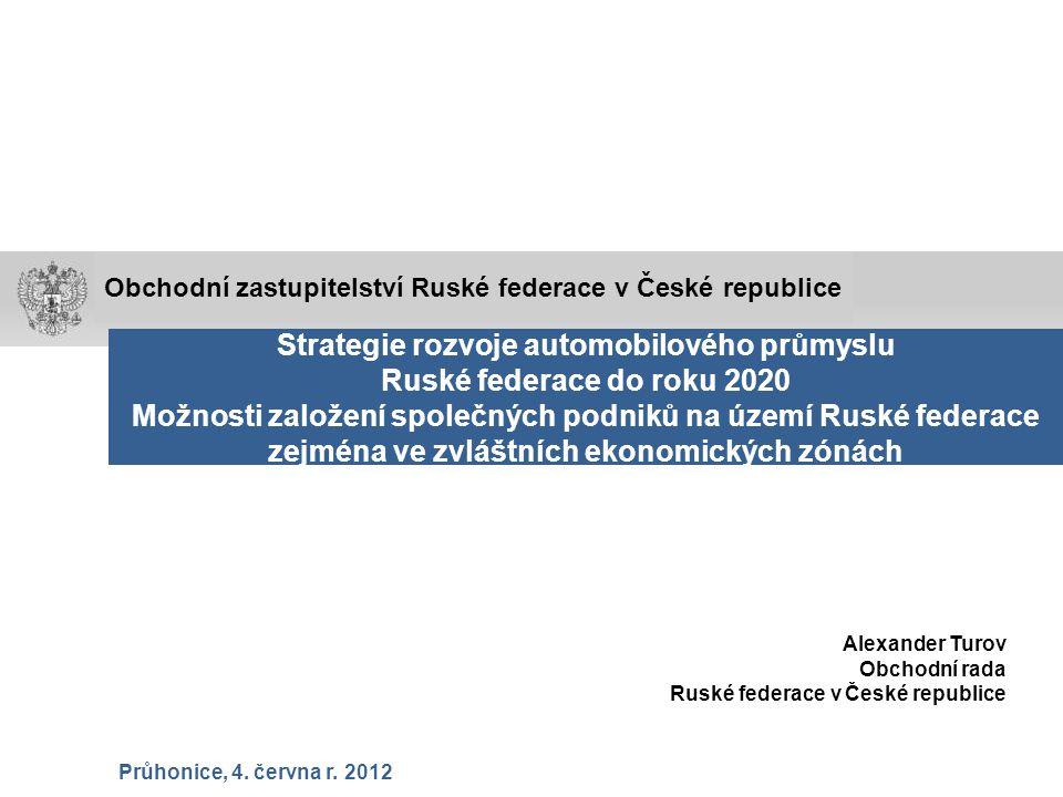 Strategie rozvoje automobilového průmyslu Ruské federace do roku 2020 Možnosti založení společných podniků na území Ruské federace zejména ve zvláštní