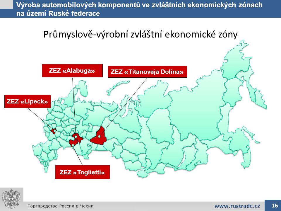 Výroba automobilových komponentů ve zvláštních ekonomických zónach na území Ruské federace 16 www.rustrade.cz Průmyslově-výrobní zvláštní ekonomické z