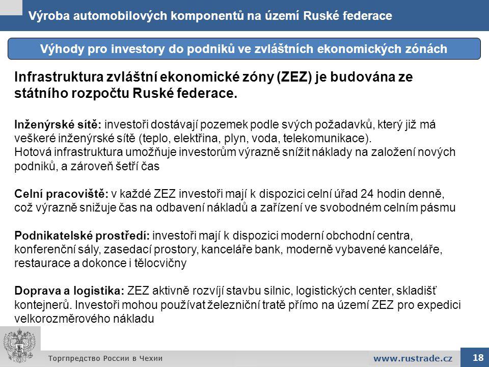 Výroba automobilových komponentů na území Ruské federace Výhody pro investory do podniků ve zvláštních ekonomických zónách 18 www.rustrade.cz Infrastr
