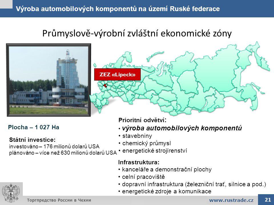 Výroba automobilových komponentů na území Ruské federace 21 www.rustrade.cz Průmyslově-výrobní zvláštní ekonomické zóny Infrastruktura: kanceláře a de