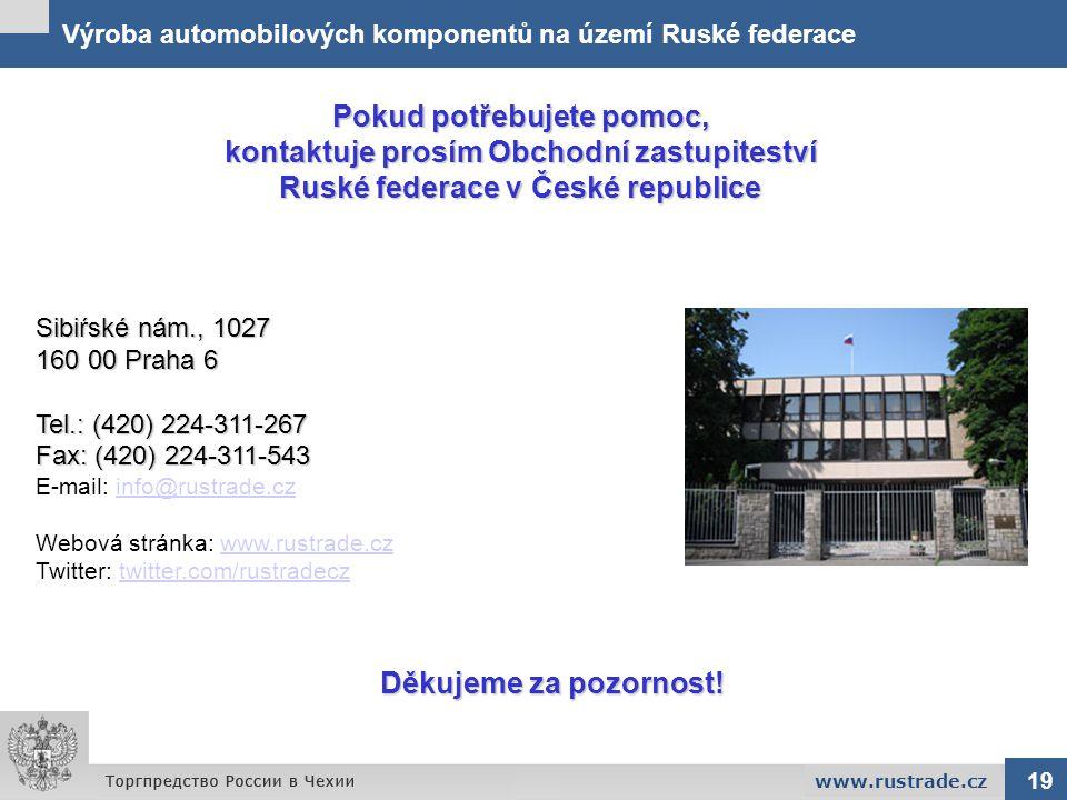 Výroba automobilových komponentů na území Ruské federace Pokud potřebujete pomoc, kontaktuje prosím Obchodní zastupiteství Ruské federace v České repu