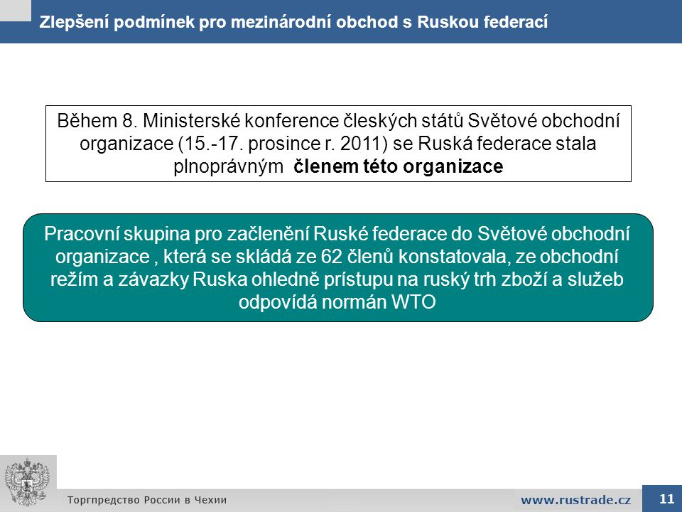 Zlepšení podmínek pro mezinárodní obchod s Ruskou federací 11 www.rustrade.cz Pracovní skupina pro začlenění Ruské federace do Světové obchodní organi