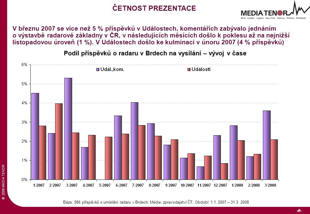 © 2008 MEDIA TENOR 12 Podíl příspěvků o radaru v Brdech na vysílání – vývoj v čase Báze: 586 příspěvků o umístění radaru v Brdech; Média: zpravodajství ČT; Období: 1.1.