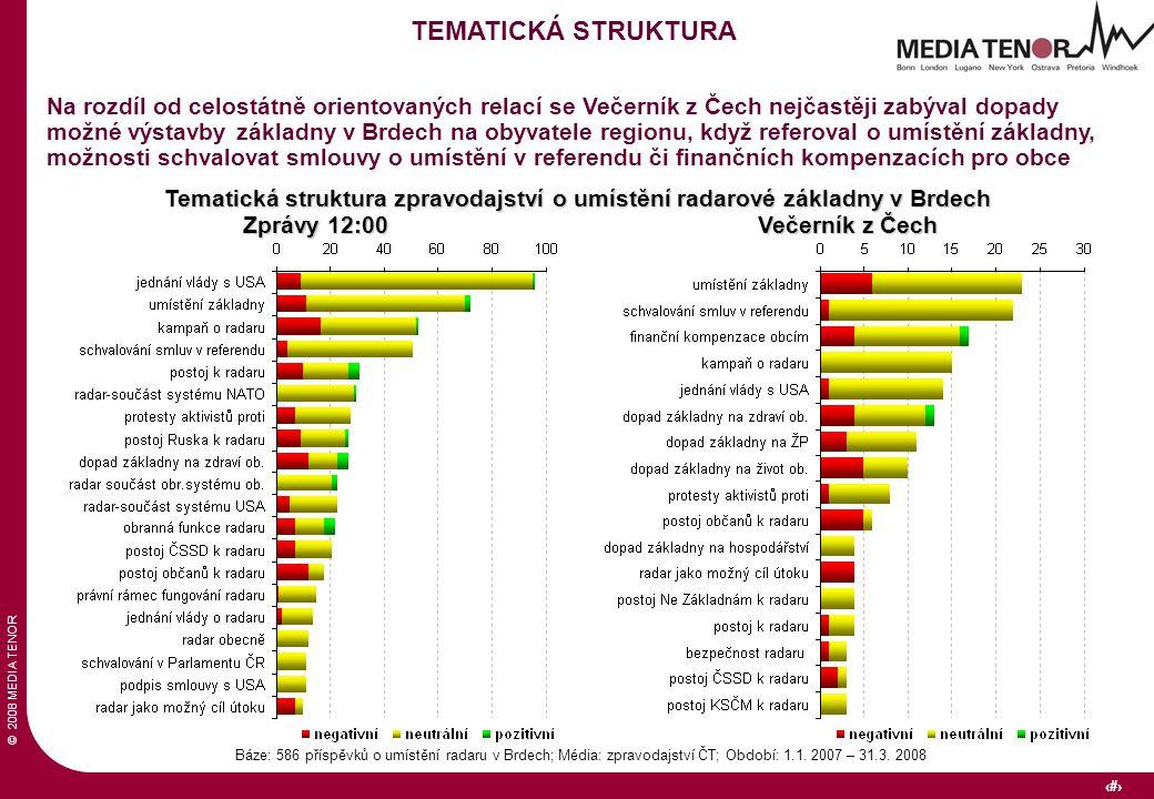 © 2008 MEDIA TENOR 16 Tematická struktura zpravodajství o umístění radarové základny v Brdech Báze: 586 příspěvků o umístění radaru v Brdech; Média: zpravodajství ČT; Období: 1.1.