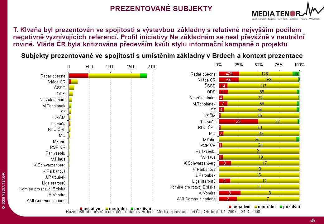 © 2008 MEDIA TENOR 20 Báze: 586 příspěvků o umístění radaru v Brdech; Média: zpravodajství ČT; Období: 1.1. 2007 – 31.3. 2008 PREZENTOVANÉ SUBJEKTY T.