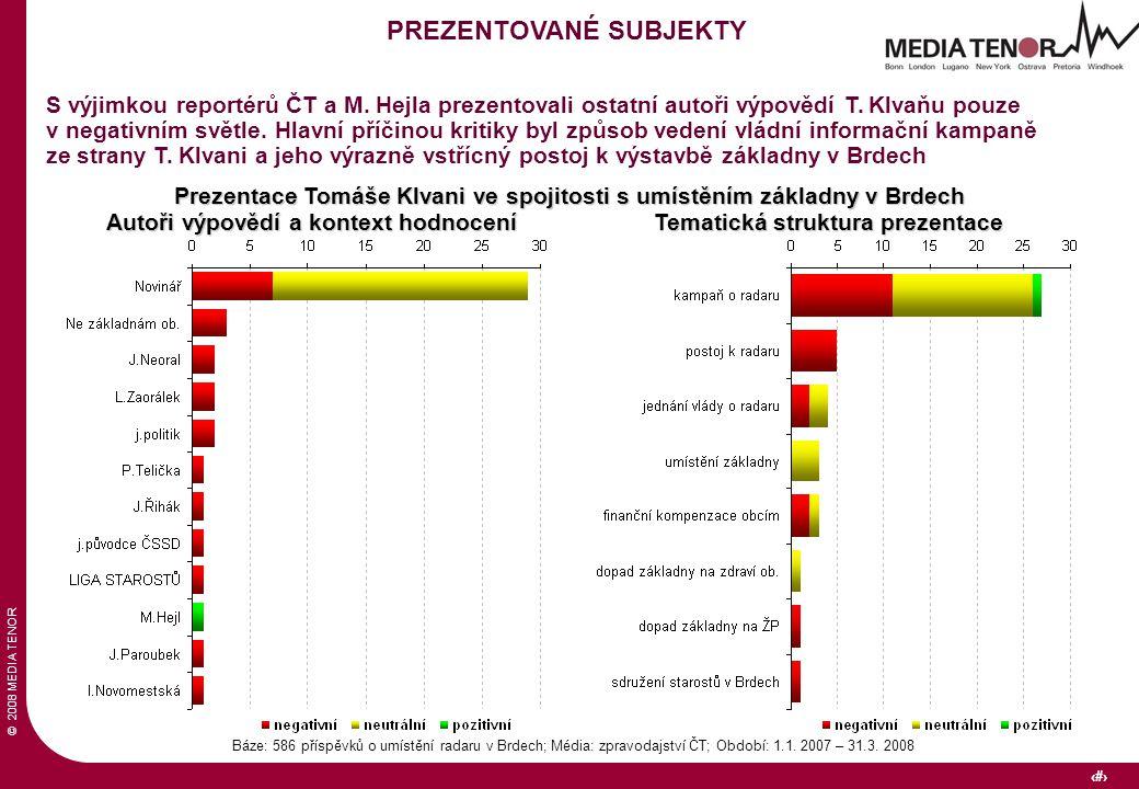 © 2008 MEDIA TENOR 22 Báze: 586 příspěvků o umístění radaru v Brdech; Média: zpravodajství ČT; Období: 1.1.