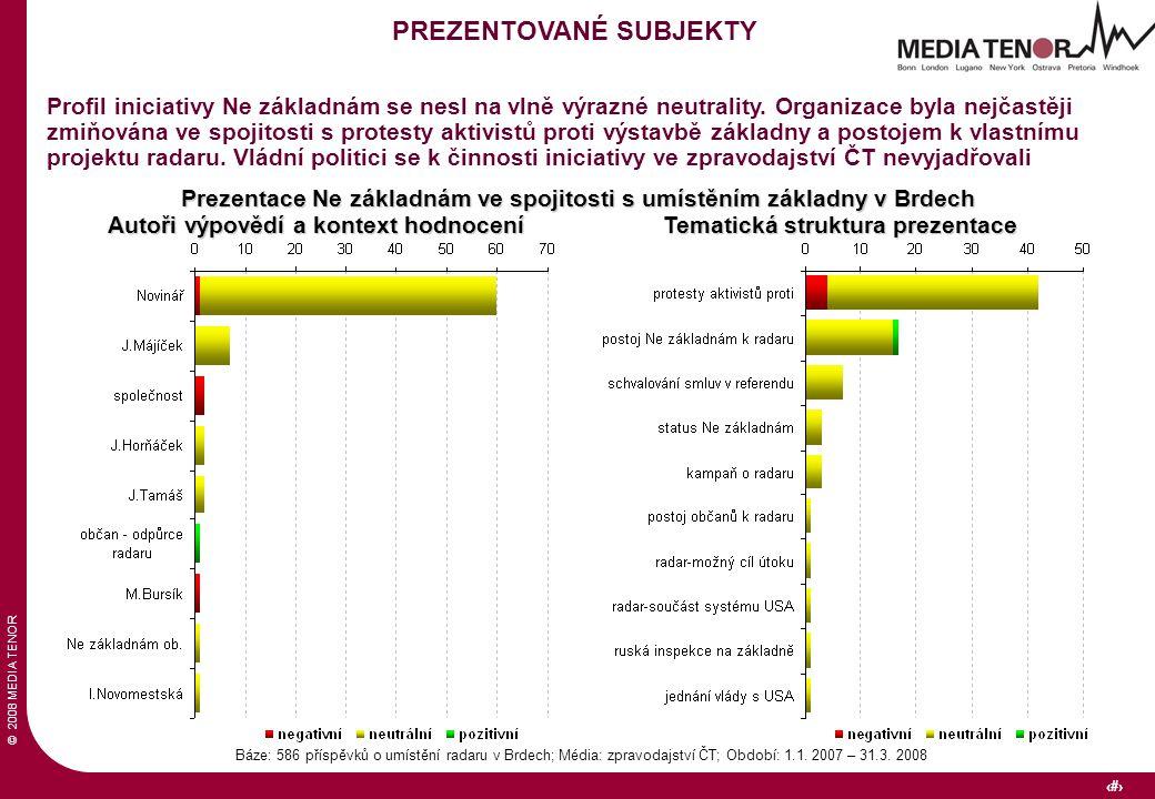 © 2008 MEDIA TENOR 23 Báze: 586 příspěvků o umístění radaru v Brdech; Média: zpravodajství ČT; Období: 1.1. 2007 – 31.3. 2008 PREZENTOVANÉ SUBJEKTY Pr