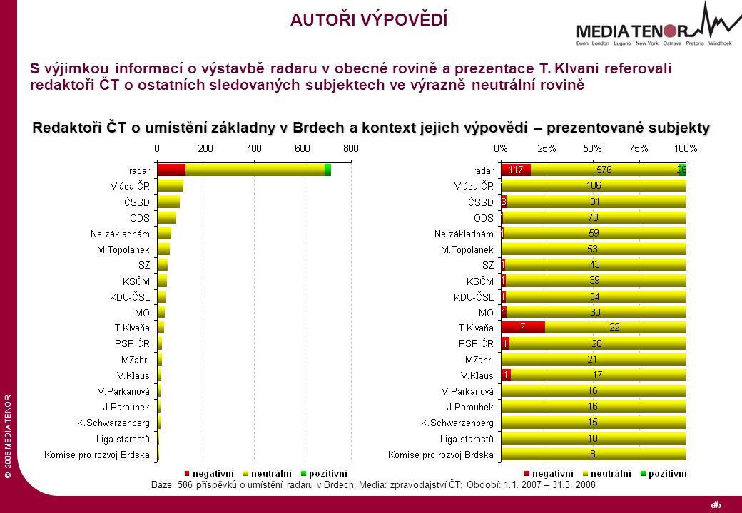 © 2008 MEDIA TENOR 27 Báze: 586 příspěvků o umístění radaru v Brdech; Média: zpravodajství ČT; Období: 1.1. 2007 – 31.3. 2008 AUTOŘI VÝPOVĚDÍ S výjimk