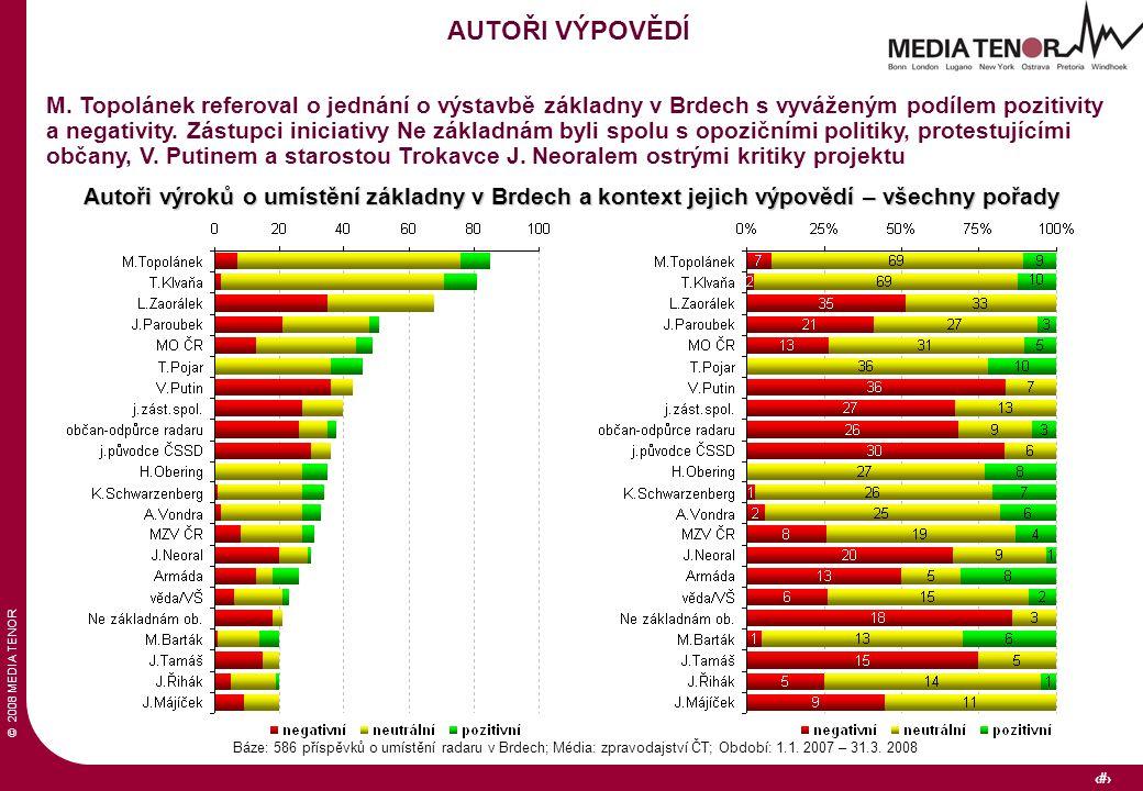 © 2008 MEDIA TENOR 28 Báze: 586 příspěvků o umístění radaru v Brdech; Média: zpravodajství ČT; Období: 1.1. 2007 – 31.3. 2008 AUTOŘI VÝPOVĚDÍ M. Topol