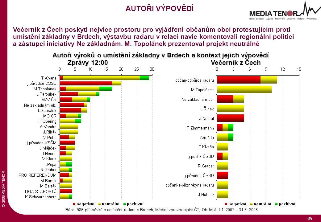© 2008 MEDIA TENOR 30 Báze: 586 příspěvků o umístění radaru v Brdech; Média: zpravodajství ČT; Období: 1.1. 2007 – 31.3. 2008 AUTOŘI VÝPOVĚDÍ Večerník