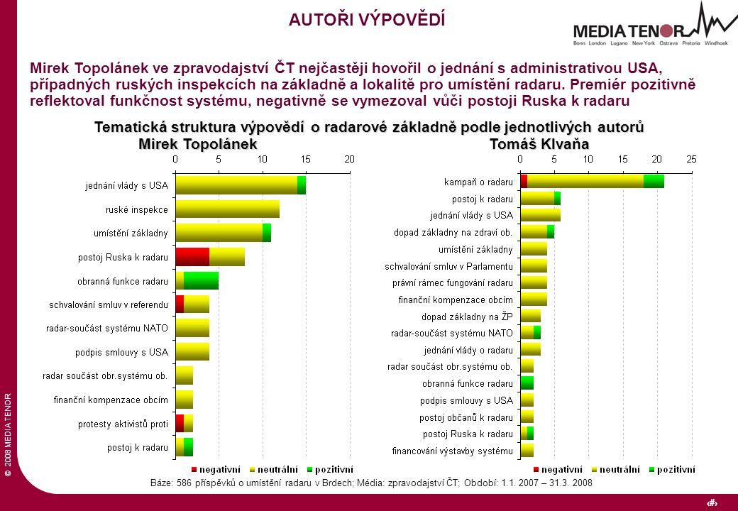 © 2008 MEDIA TENOR 31 Báze: 586 příspěvků o umístění radaru v Brdech; Média: zpravodajství ČT; Období: 1.1.
