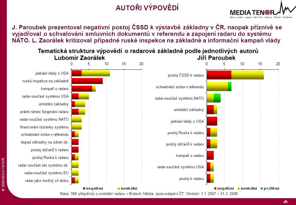 © 2008 MEDIA TENOR 32 Báze: 586 příspěvků o umístění radaru v Brdech; Média: zpravodajství ČT; Období: 1.1. 2007 – 31.3. 2008 AUTOŘI VÝPOVĚDÍ J. Parou
