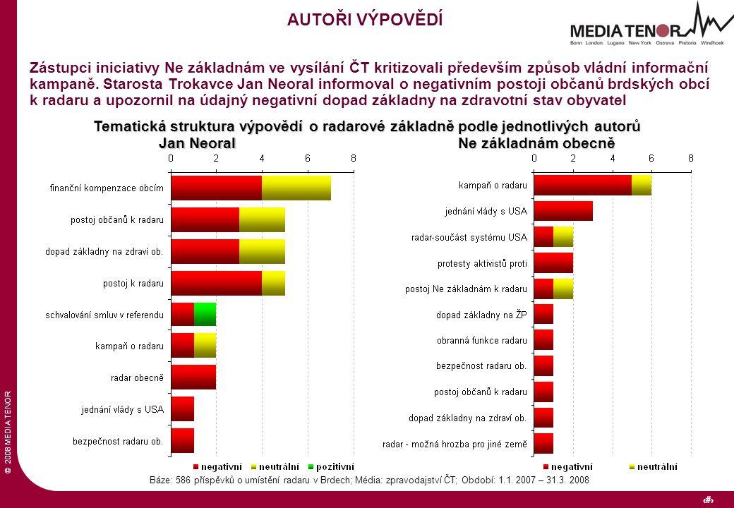 © 2008 MEDIA TENOR 33 Báze: 586 příspěvků o umístění radaru v Brdech; Média: zpravodajství ČT; Období: 1.1.