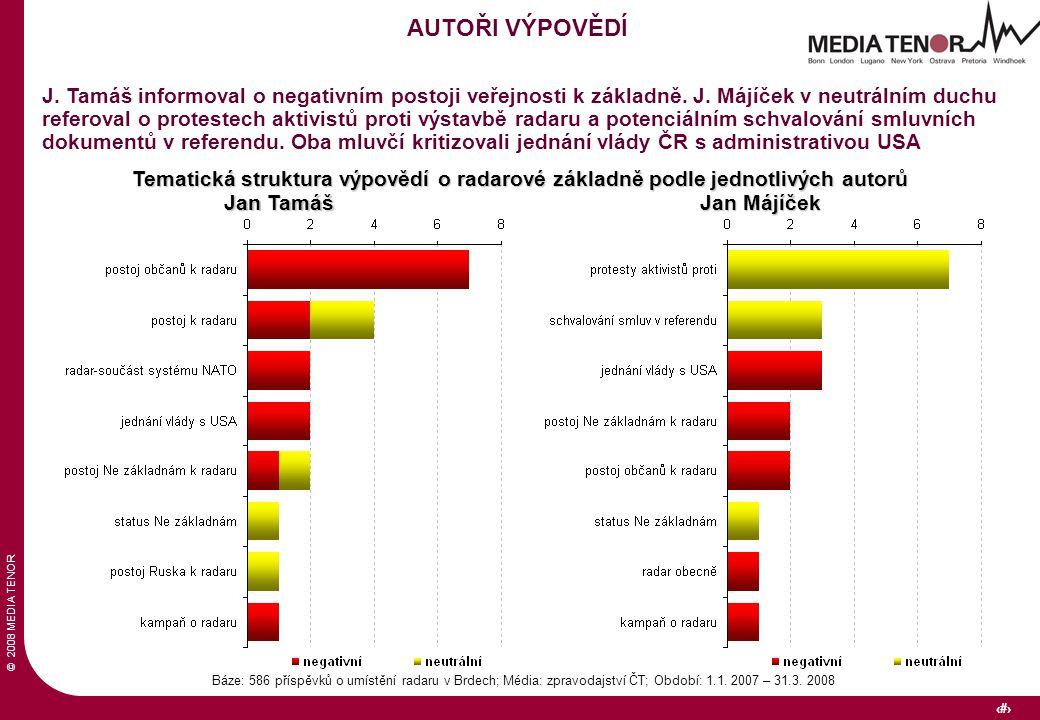 © 2008 MEDIA TENOR 34 Báze: 586 příspěvků o umístění radaru v Brdech; Média: zpravodajství ČT; Období: 1.1.