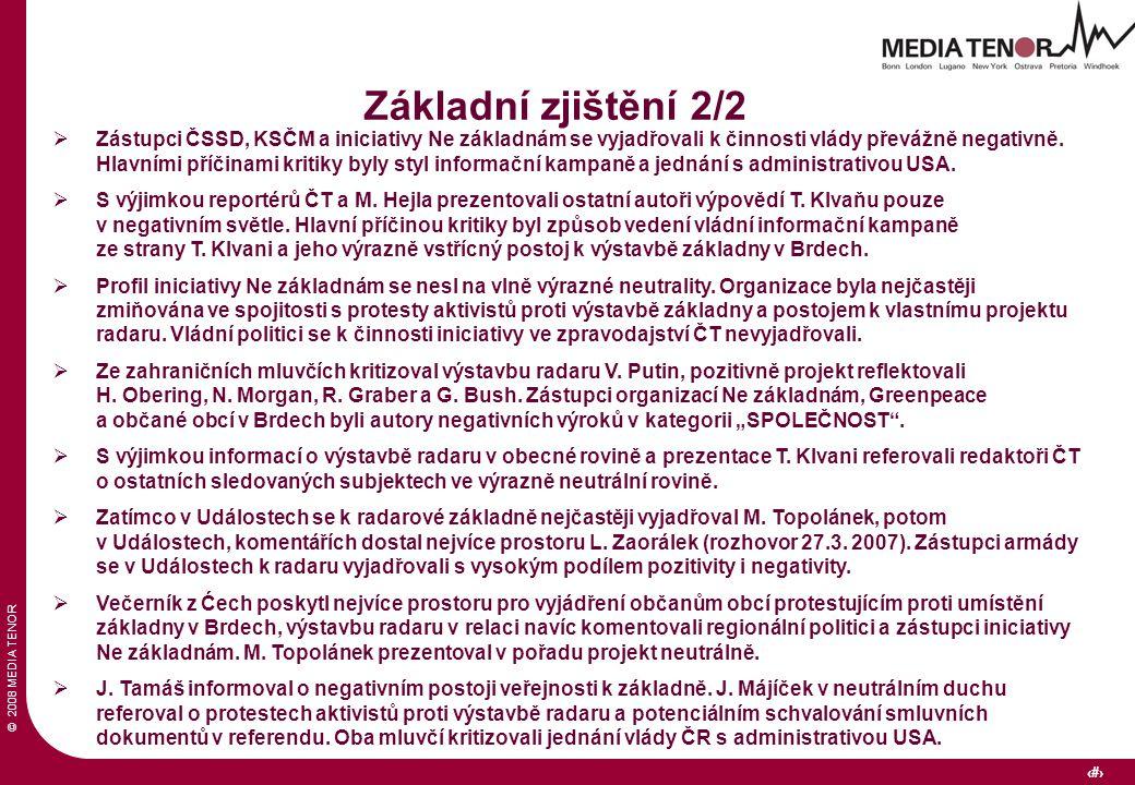 © 2008 MEDIA TENOR 8 Základní zjištění 2/2  Zástupci ČSSD, KSČM a iniciativy Ne základnám se vyjadřovali k činnosti vlády převážně negativně. Hlavním