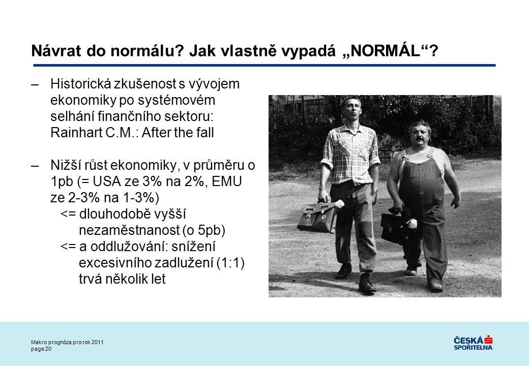 Makro prognóza pro rok 2011 page 20 Návrat do normálu.