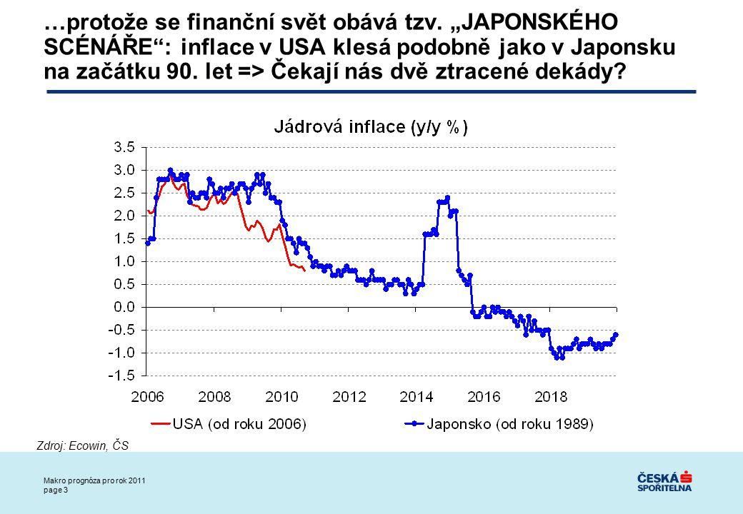 Makro prognóza pro rok 2011 page 14 (2) DLUHY VLÁD: další a hlubší kolo nedůvěry ke slabým členům EMU (Řecko, Irsko), kolaps důvěry k dluhu vlád hlavních ekonomik (USA, UK)