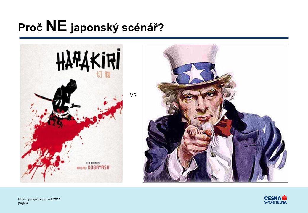 Makro prognóza pro rok 2011 page 5 (1) Hlavně NEZASPAT: Rychlejší reakce měnové a fiskální politiky: Japonská centrální banka a vláda čekaly několik let, USA ihned