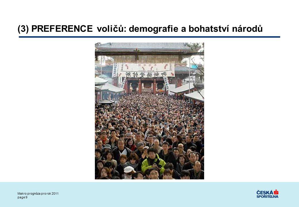 Makro prognóza pro rok 2011 page 9 (3) PREFERENCE voličů: demografie a bohatství národů