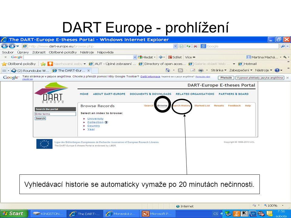 DART Europe - prohlížení Vyhledávací historie se automaticky vymaže po 20 minutách nečinnosti.
