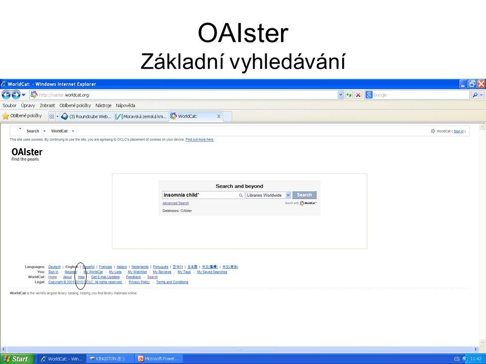 OAIster Základní vyhledávání