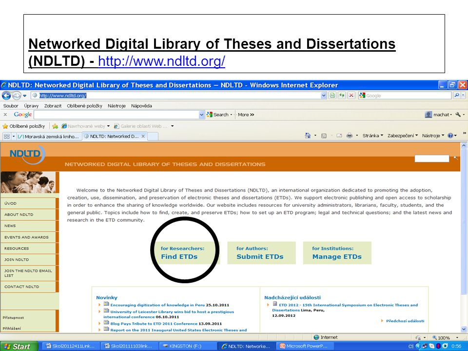 Networked Digital Library of Theses and Dissertations (NDLTD) - http://www.ndltd.org/http://www.ndltd.org/