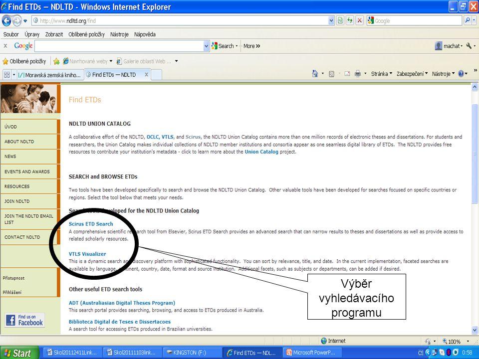 NDTL – VTLS Visualizer vyhledávání