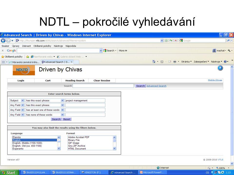 NDTL – pokročilé vyhledávání